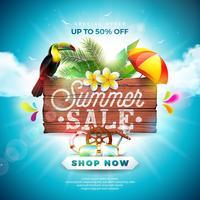 Estate vendita Design con elementi di fiore, Tucano e Beach Holiday su sfondo blu. Illustrazione floreale tropicale di vettore con la tipografia di offerta speciale sul bordo di legno d'annata per il buono