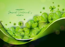 Progettazione del fondo di giorno di San Patrizio con la foglia verde dei trifogli. Illustrazione irlandese fortunato di vettore di festa per la cartolina d'auguri, l'invito del partito o l'insegna di promo.