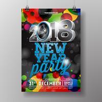 Illustrazione del modello del manifesto di celebrazione del partito del nuovo anno con 3d la palla del testo e della discoteca 2018 su fondo variopinto brillante. Disegno vettoriale EPS 10.