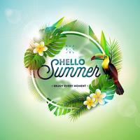 Ciao illustrazione di estate con l'uccello del tucano su priorità bassa tropicale. Foglie e fiori esotici con elemento tipografia vacanza. Modello di disegno vettoriale per banner