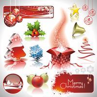 Vector Holiday insieme per un tema di Natale con elementi 3d.