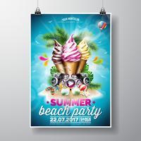 Vector Summer Beach Party Flyer Design con gelati ed elementi musicali