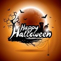Illustrazione vettoriale su un tema Happy Halloween su sfondo di luna.