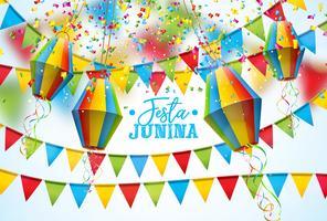 Illustrazione di Festa Junina con le bandiere del partito e lanterna di carta su fondo bianco. Vector Brasile giugno Festival Design per Greeting Card, Invito o Holiday Poster.