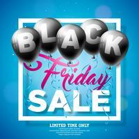 Illustrazione di vettore di vendita di Black Friday con i palloni brillanti su fondo scuro. Modello di design della promozione per banner o poster.