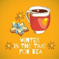 Legato con una tazza di tè caldo e biscotti a forma di stella con un nastro blu vettore