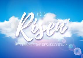 Illustrazione di festa di Pasqua con luce celeste e nuvola sul fondo del cielo blu vettore