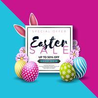 Illustrazione di vendita di Pasqua con l'uovo dipinto di colore e l'elemento di tipografia vettore