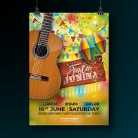 Festa Junina Party Flyer Illustration con tipografia Design su tavola di legno vintage e chitarra acustica. Bandiere e lanterna di carta su sfondo giallo. Vector Brasile giugno Festival Design
