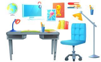 Oggetto stabilito di interior design della stanza del posto di lavoro vettore