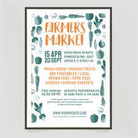 Modello di Poster di mercato degli agricoltori di vettore