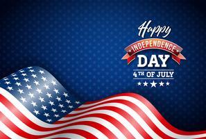 Felice giorno dell'indipendenza degli Stati Uniti illustrazione vettoriale. Design di quarto di luglio con bandiera su sfondo blu per Banner, Greeting Card, Invito o Poster di festa.