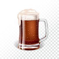 Illustrazione vettoriale con fresca birra scura in un boccale di birra su sfondo trasparente.