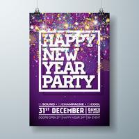 Illustrazione del modello del manifesto di celebrazione del partito del nuovo anno con progettazione di tipografia e coriandoli di caduta su fondo variopinto brillante. Vector Holiday Premium Invitation Flyer o Banner promozionale.