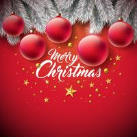 Illustrazione di buon Natale con palla ornamentale, tipografia lettera, stella di carta del ritaglio dell'oro e ramo di pino d'argento su sfondo rosso. Disegno vettoriale per biglietto di auguri, poster di invito a una festa o banner promozionale.