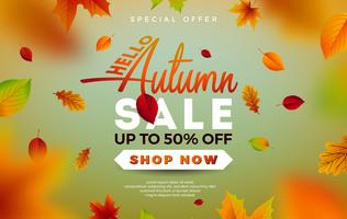 Autumn Sale Design con foglie che cadono e scritte su sfondo verde. Illustrazione vettoriale autunnale con elementi di tipografia offerta speciale per coupon