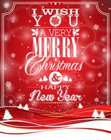 Vector l'illustrazione di Natale con progettazione tipografica sul fondo del paesaggio