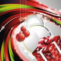 Illustrazione vettoriale di Natale con scatola regalo.