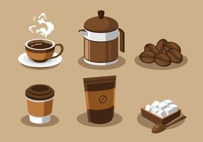 Vettore stabilito di clipart degli elementi del caffè