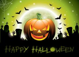 Vector l'illustrazione su un tema felice di Halloween con la zucca.