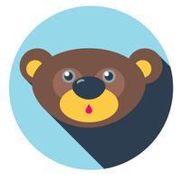 icona piatta testa orsacchiotto vettore