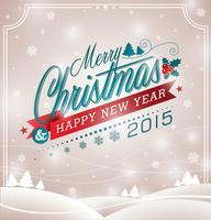 Vector l'illustrazione di Natale con progettazione tipografica e nastro sul fondo del paesaggio.