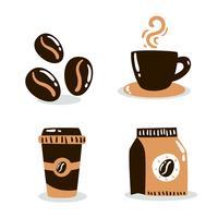 Vettore disegnato a mano degli elementi del caffè