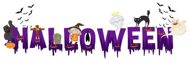 Progettazione di font per parola halloween vettore