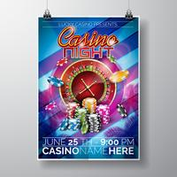 Vector Party Flyer design su un tema Casino con patatine e ruota della roulette