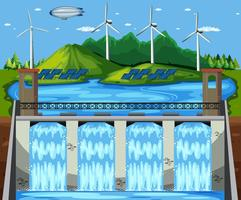 Scena naturale della centrale elettrica verde vettore