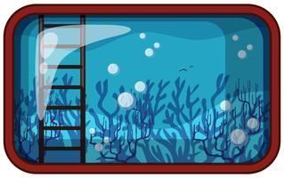 Acquario sott'acqua con corallo e scala vettore