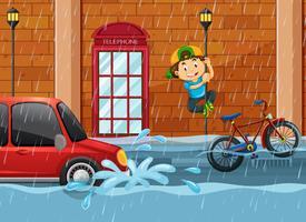 Un'alluvione sulla strada vettore