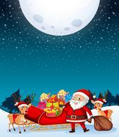 Babbo Natale sotto la luna vettore