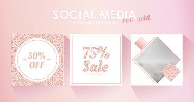 Modello di banner per social media per il tuo blog o azienda. Carino rosa pastello oro rosa un design moderno. Set vettoriale