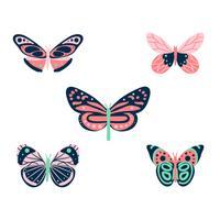 Collezione di farfalle colorate vettore