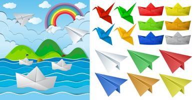 Ocean scne e origami di carta in diversi oggetti vettore