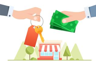 Scambio di denaro per le chiavi della casa. Immobiliare. Mano con pagamento in contanti. illustrazione piatta