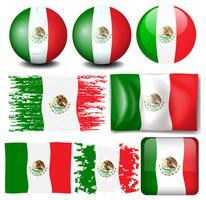 Bandiera del Messico in molti design vettore