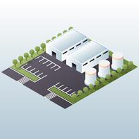 Illustrazione isometrica di concetto di area industriale del magazzino vettore