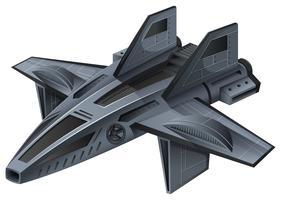 Spacship grigio con le ali vettore