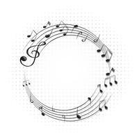 Cornice rotonda con note musicali su scale vettore