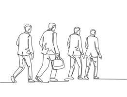 un unico disegno al tratto di giovani dipendenti maschi e femmine che camminano insieme si precipitò per non essere in ritardo al lavoro. illustrazione grafica vettoriale di disegno di disegno di linea continua di lavoratori pendolari urbani concetto
