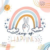 Arcobaleno carino con mano di pace, sole characte, forme astratte e citazione sulla felicità vettore