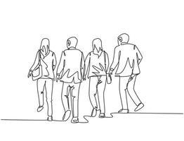 un unico gruppo di lavoratori e lavoratrici corre di fretta per non arrivare in ritardo in ufficio. business in esecuzione concetto di concorrenza linea continua disegnare disegno vettoriale illustrazione