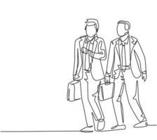 un disegno a tratteggio di due giovani manager maschi che camminano di fretta mentre guardano l'orologio, cercando di non arrivare in ritardo al lavoro. concetto di lavoratore pendolare urbano linea continua disegnare disegno vettoriale illustrazione