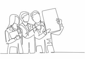 un singolo gruppo di disegno a tratteggio di giovani medici che diagnosticano la malattia del paziente mentre discutono del risultato della foto a raggi x. concetto di servizio sanitario medico linea continua disegnare disegno vettoriale illustrazione