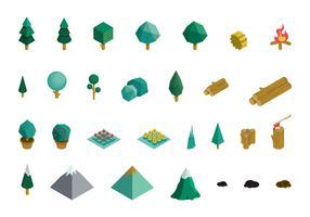 Set edifici industriali e beni isometrici vettore