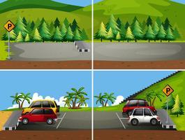 Scena di parcheggio di montagna natura vettore