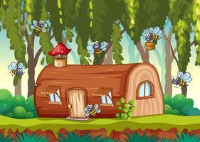 Ape che vola in casa di legno vettore