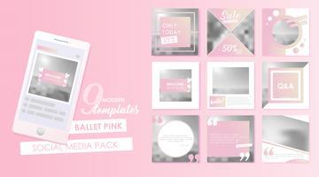 Modello di banner per social media per il tuo blog o azienda. Simpatici disegni rosa pastello per foto. Set piatto vettoriale